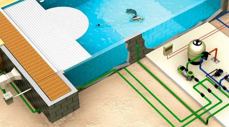 Tuberías de la depuradora de la piscina.