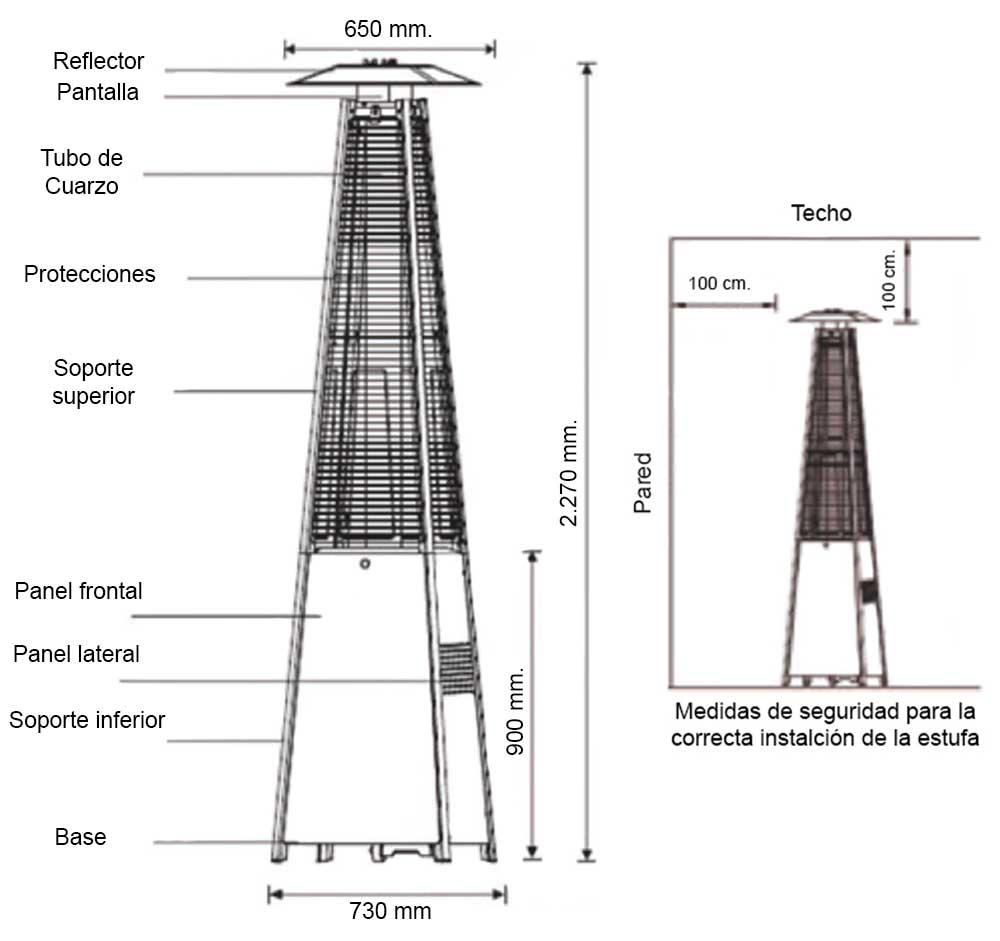 Dimensiones Estufa Terraza Bustir