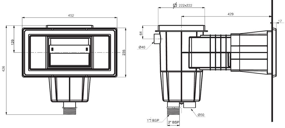 Skimmer estandar para piscinas de liner outlet piscinas for Dimensiones de albercas