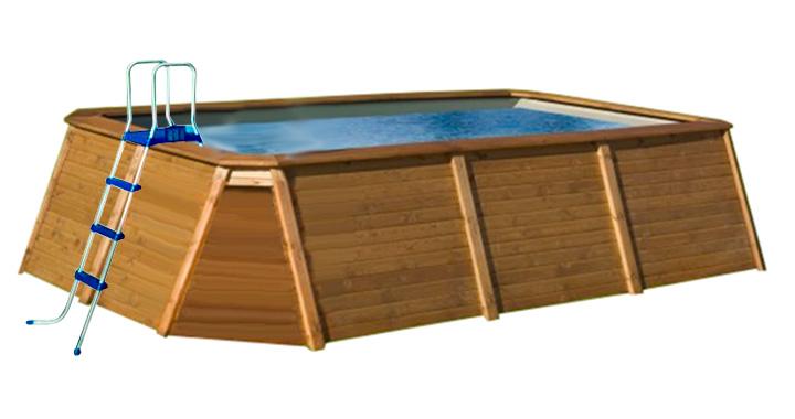 Piscina de madera 345 x 255 x 107 outlet piscinas for Piscina madera rectangular
