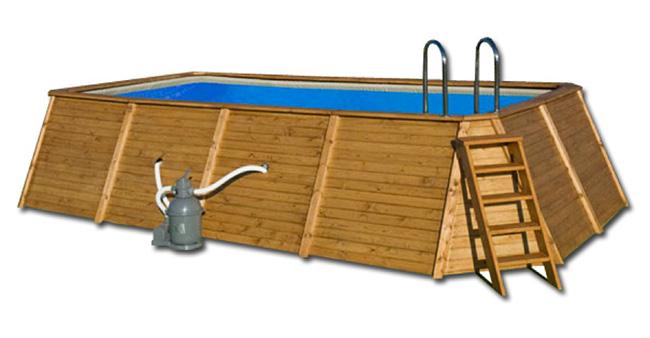 Piscina madera rectangular 655 x 390 x 124 outlet piscinas for Piscina madera rectangular