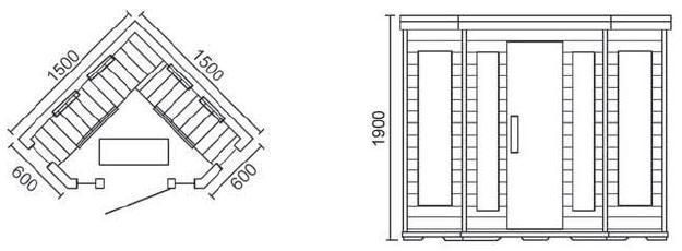 Sauna Baeza 3 Plazas dimensiones
