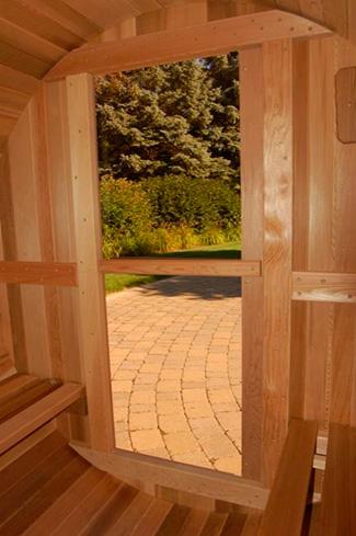 Sauna Barril detalle interior de la puerta de cristal