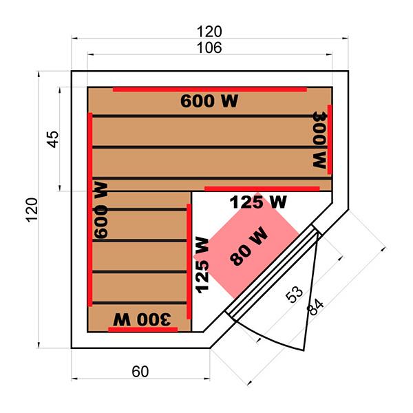 Sauna Infrarrojos Soleil Blanc 2/3 Plazas Dimensiones