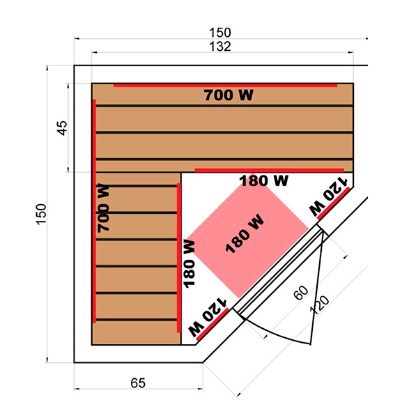 Sauna Infrarrojos Soleil Blanc 3/4 Plazas Dimensiones