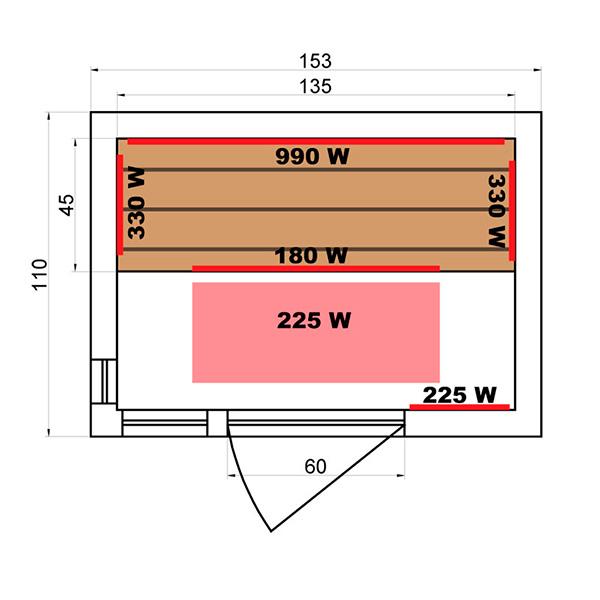 Sauna Infrarrojos Soleil Blanc 3 Plazas Dimensiones