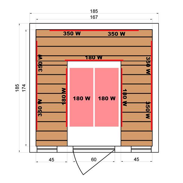 Sauna Infrarrojos Soleil Blanc 4/5 Dimensiones