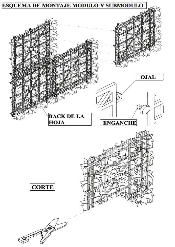 Esquema de Instalación de Seto Artificial