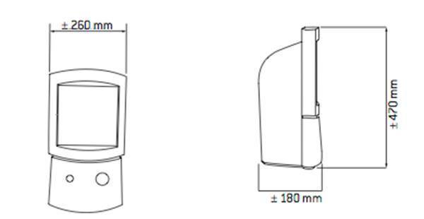 Solarium Facial HB 404 Dimensiones