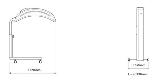 Solarium Topaz 10 V Dimensiones