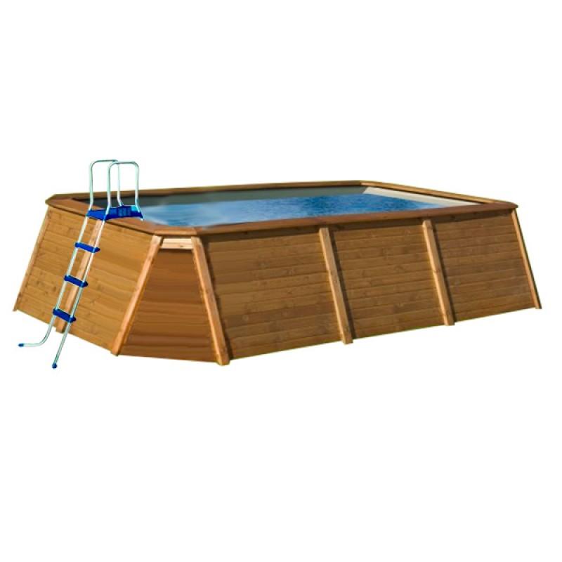 Piscina de madera 345 x 255 x 107 outlet piscinas - Piscina madera rectangular ...
