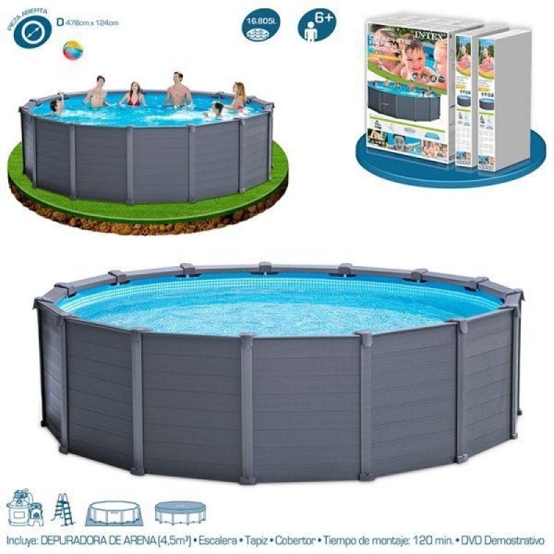 Piscina intex graphite panel 478x124cm outlet piscinas for Albercas armables intex