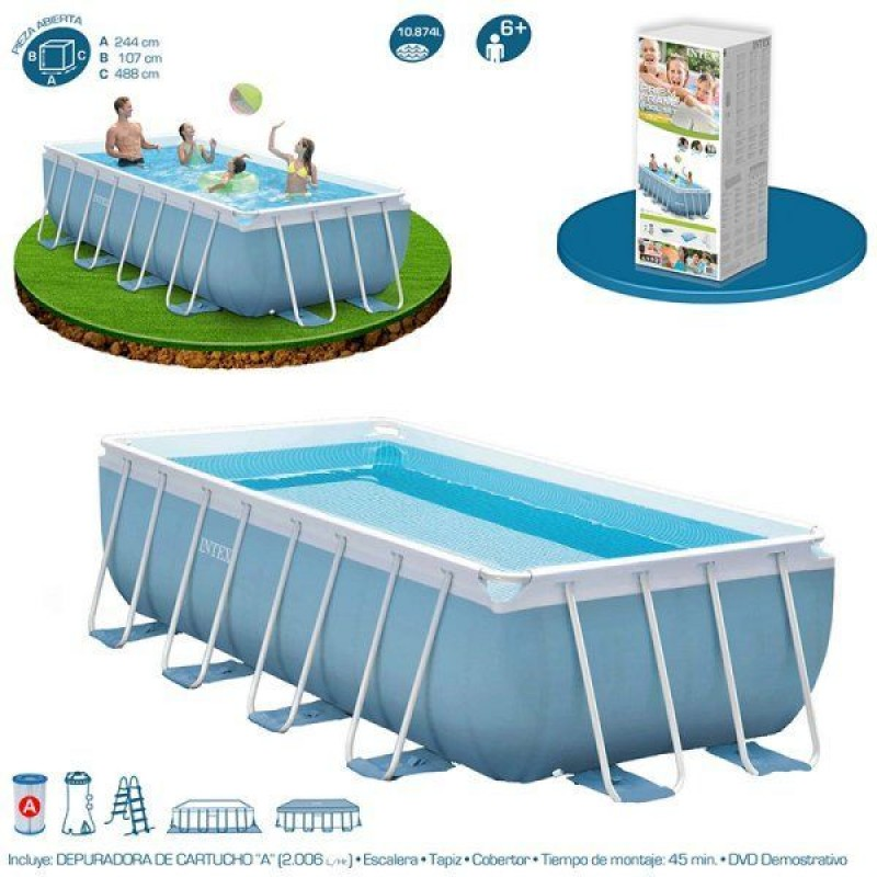Piscina prisma frame 488x244x107cm de intex outlet piscinas for Oulet piscinas