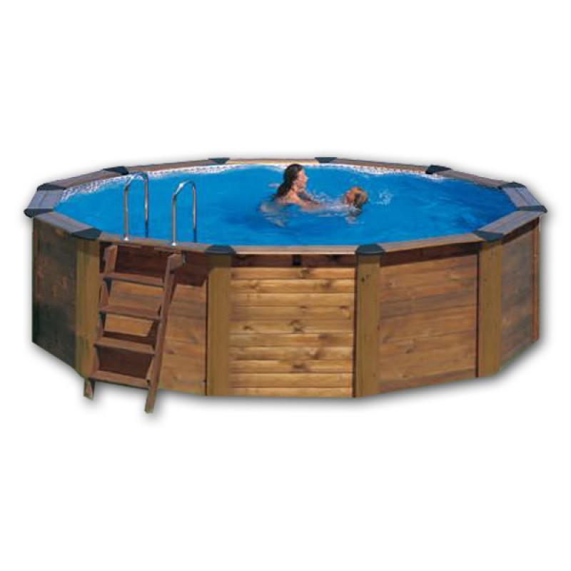 Piscina gre acero y madera hawaii circular kitnp461 for Piscina acero