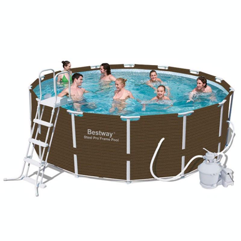 Piscina bestway steel pro rattan outlet piscinas for Oulet piscinas