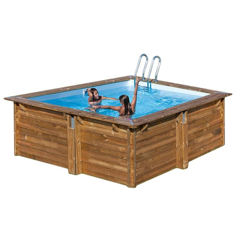 piscina de madera cuadrada gre carra 300x300x119 outlet