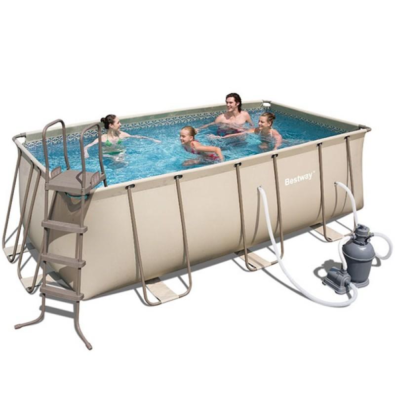 Piscina rectangular frame 414x216x100 outlet piscinas for Piscina rectangular