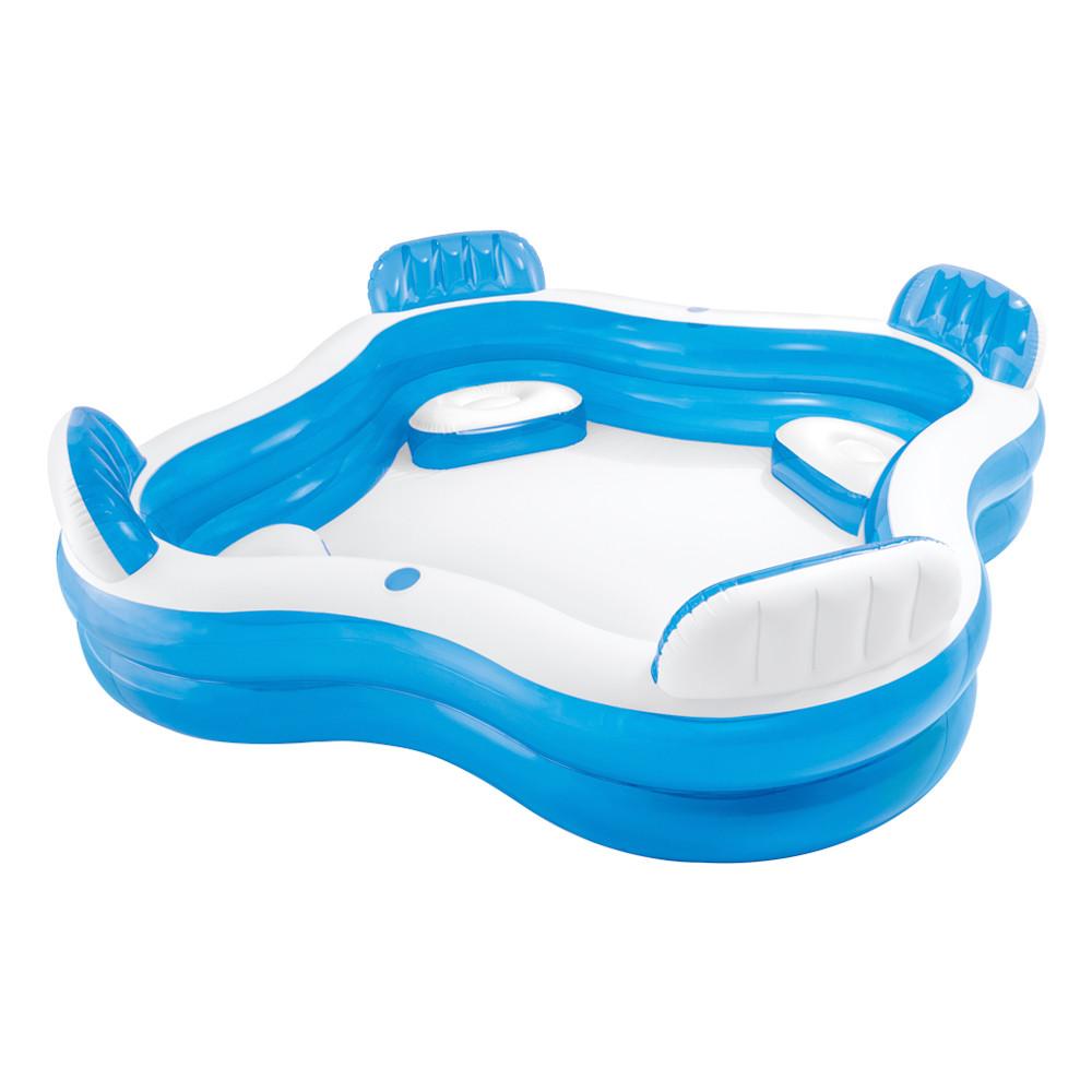 Piscina hinchable con asientos outlet piscinas for Cubre piscinas intex