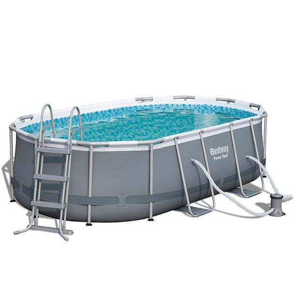 Piscina power steel oval 424x250x100 outlet piscinas for Cubre piscina bestway