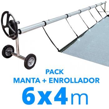 Pack manta térmica verano + enrollador piscinas 6x4 m