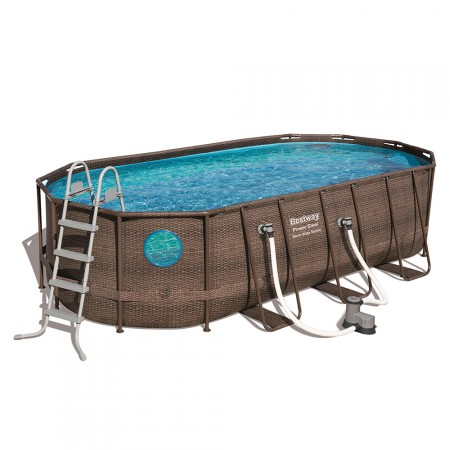 Piscina Power Steel Oval Rattan 549 x 274 x 122 cm