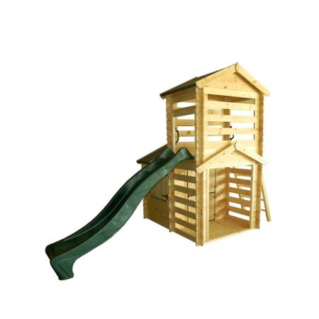 Casita de madera para niños con tobogán