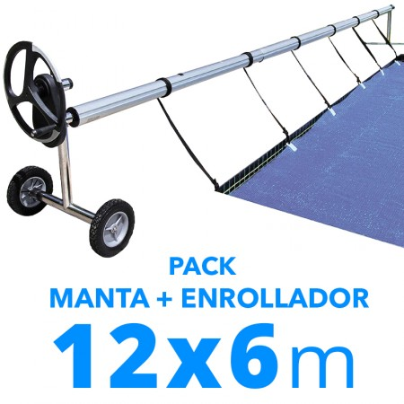 Pack manta térmica verano + enrollador piscinas 12x6 m