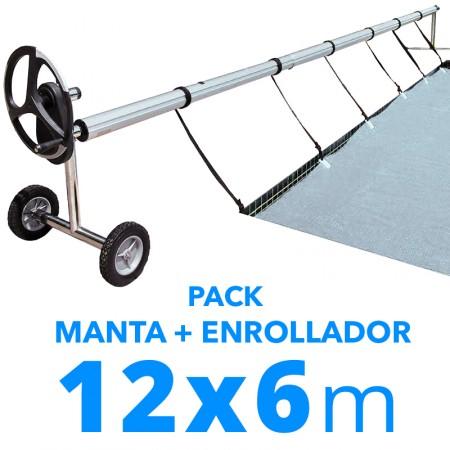 Pack manta térmica verano + enrollador piscinas 6x12 m