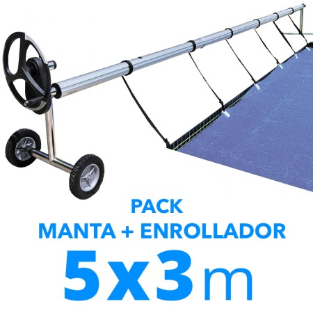 Pack manta térmica verano + enrollador piscinas 5x3 m