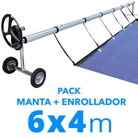 Pack manta térmica verano + enrollador piscinas 4x6 m