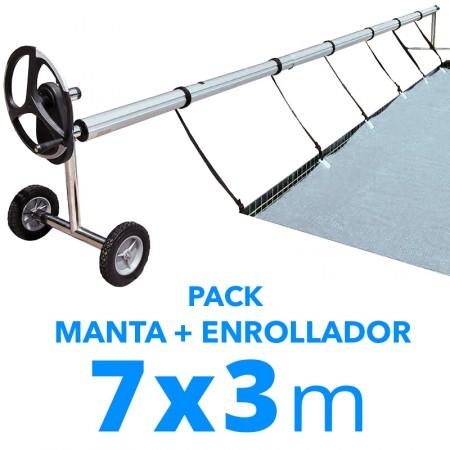 Pack manta térmica verano + enrollador piscinas 3x7 m