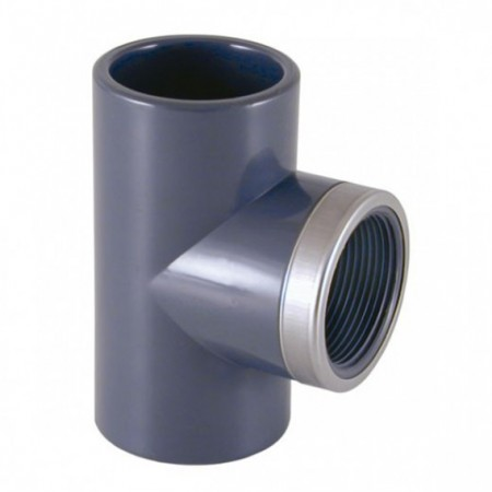 Te mixta reforzada 90º PVC