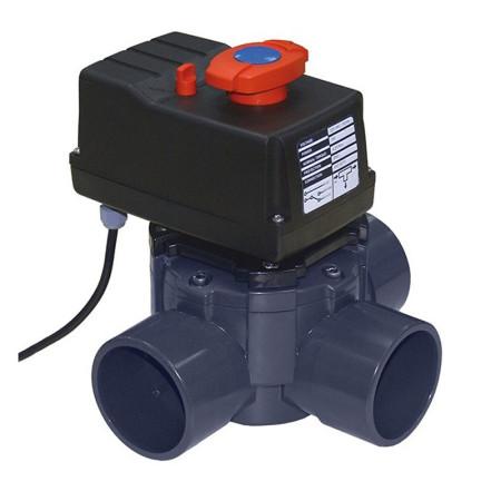 Válvula distribuidora de 3 vías PVC automático