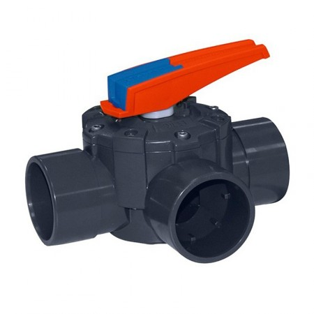 Válvula distribuidora de 3 vías PVC manual
