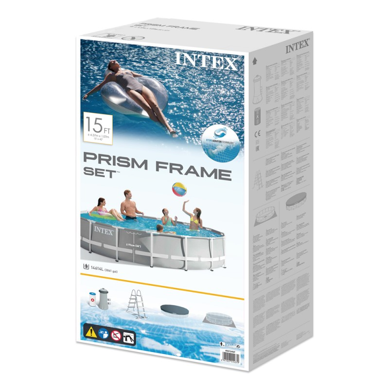 Piscina Intex Prisma Frame Gris Ø457x107cm  caja