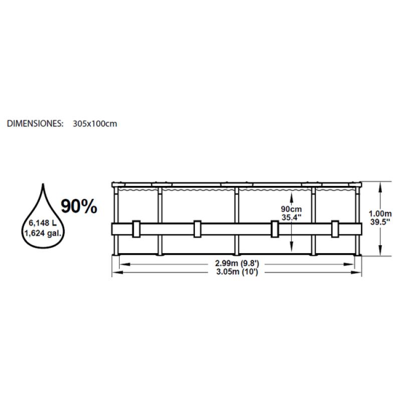Dimensiones Piscina Steel Pro 305x100cm