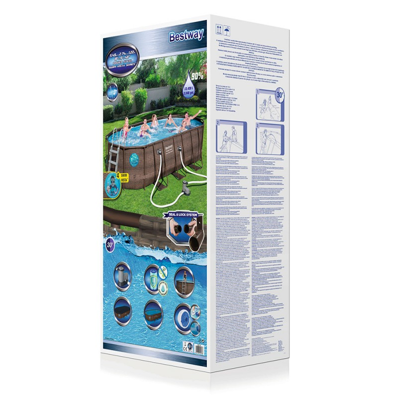 Piscina Power Steel Oval Rattan 549 x 274 x 122 cm paquete
