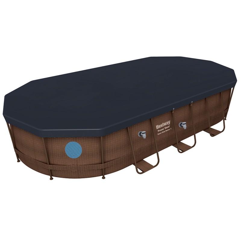 Piscina Power Steel Oval Rattan 549 x 274 x 122 cm cobertor
