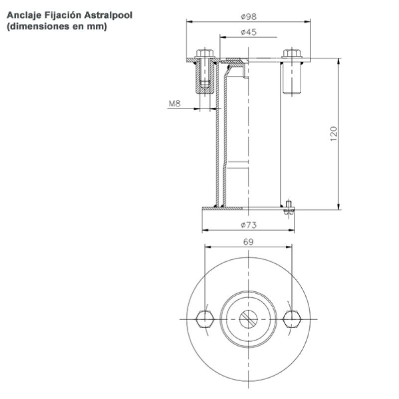 Anclaje Fijación Astralpool - Dimensiones