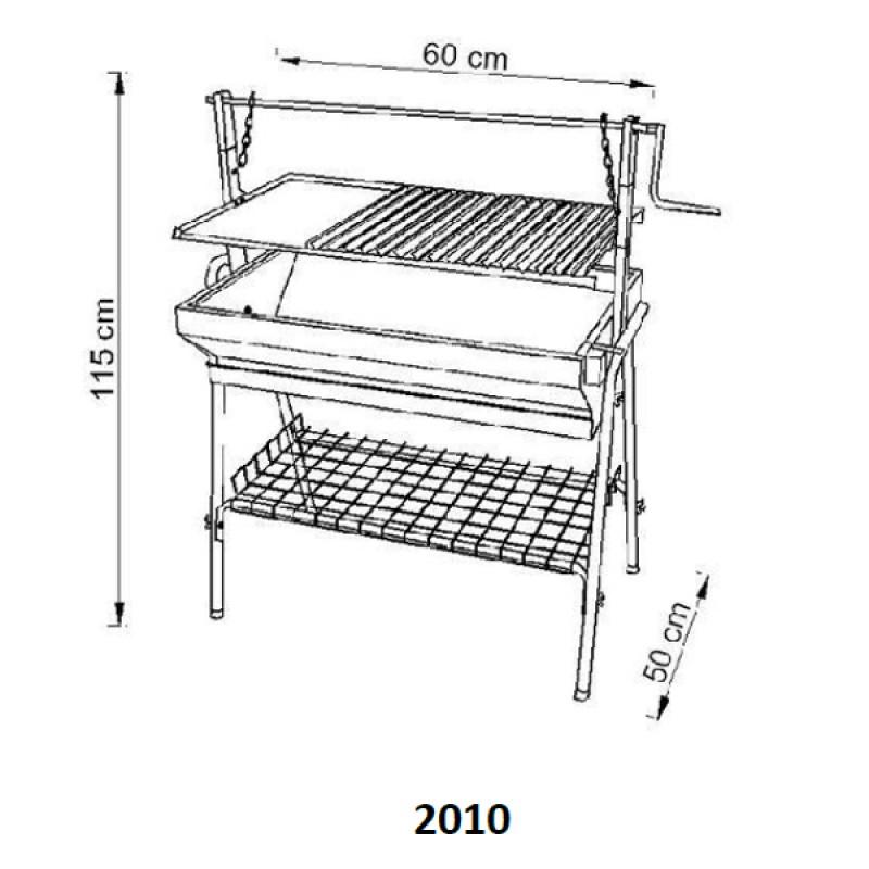 Barbacoa de carbón profesional parrilla inox tamaño 2010