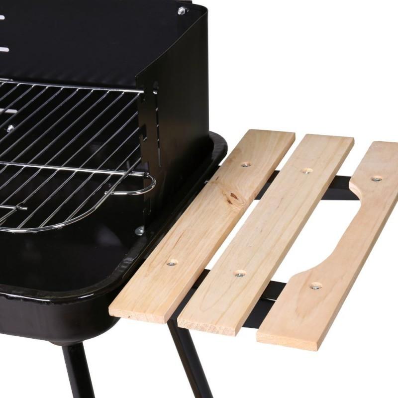 Barbacoa Carbón Estilo Rústico bandeja lateral madera