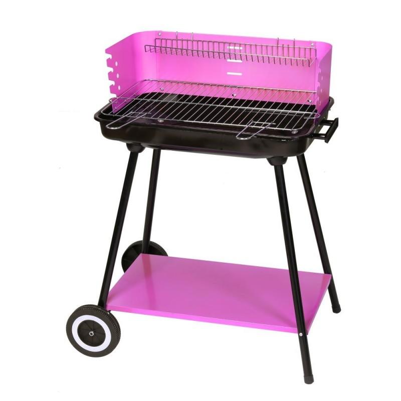 Barbacoa Rectangular Carbón Acero color violeta