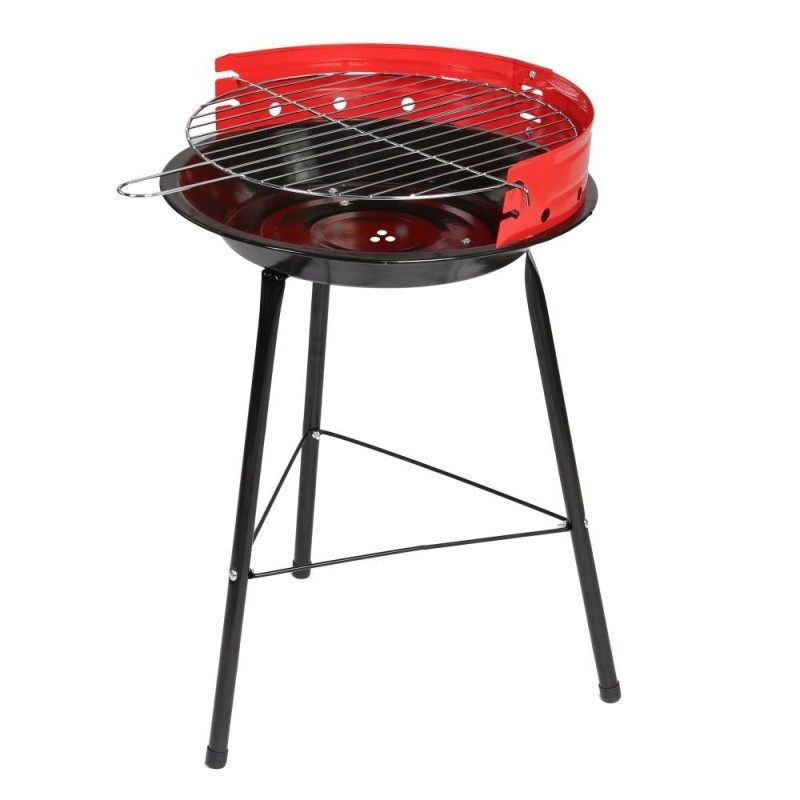 Barbacoa carbón redonda acero color rojo