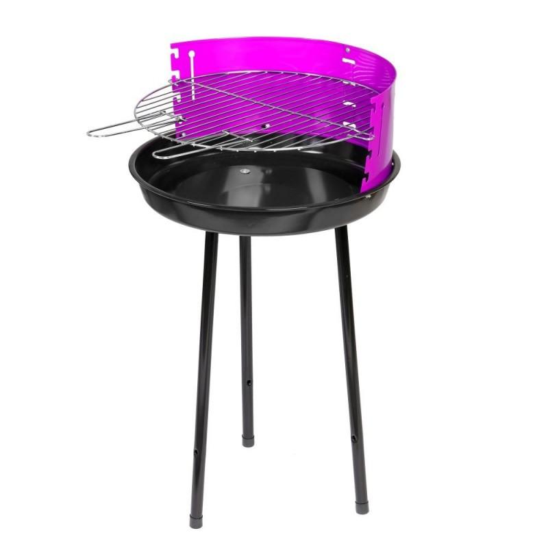 Barbacoa carbón redonda acero color violeta
