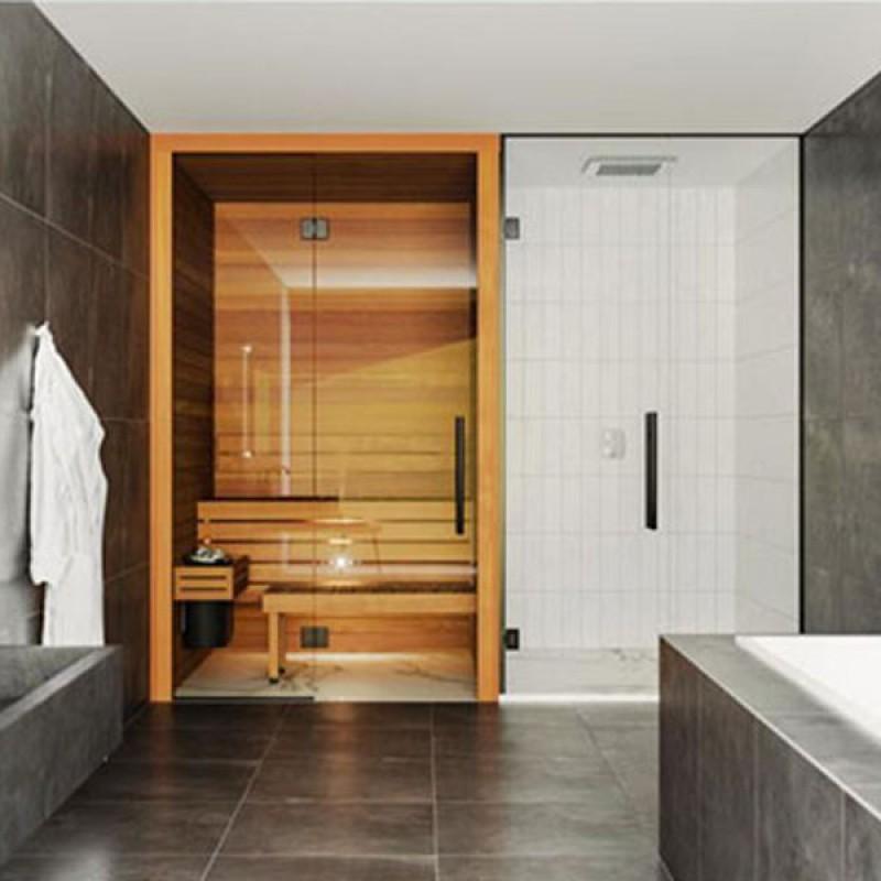 Sauna Cala pared frontal cristal baño