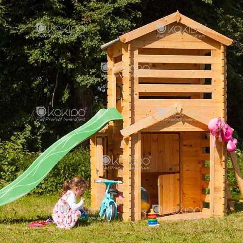 Casita infantil con tobog n 175x332x145 cm kt12811 outlet piscinas for Casita madera jardin