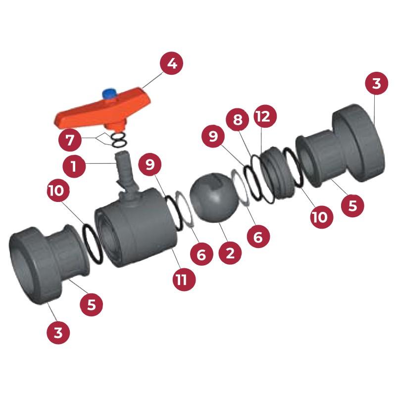 Despiece Válvula de bola Standard PVC Teflón®-FPM encolar