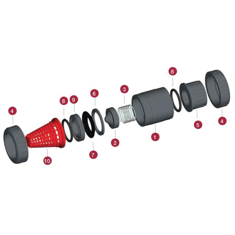 Despiece Válvula de retención de pie