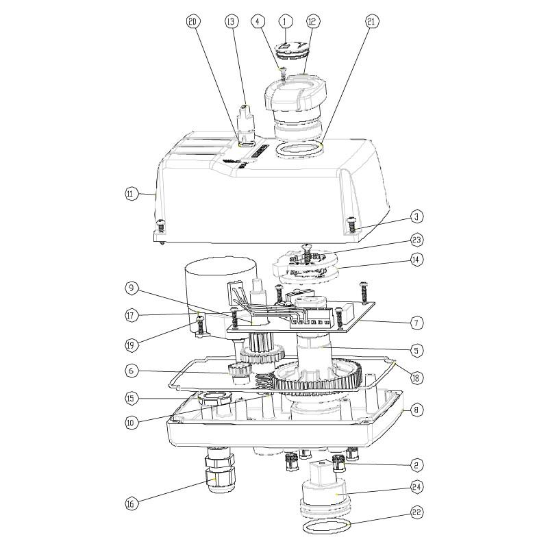 Despiece válvula distribuidora de 3 vías PVC automático