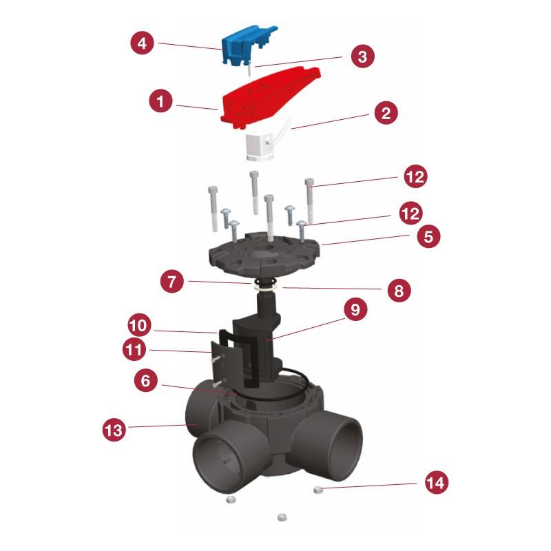 Despiece Válvula distribuidora de 3 vías PVC manual